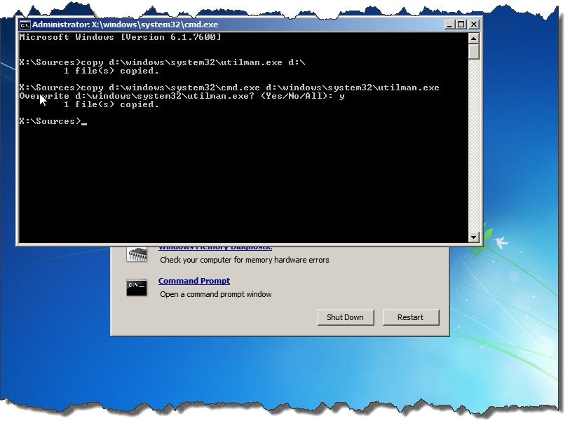 replace utilman with cmd windows 8