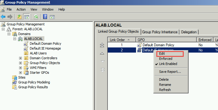 How to use group policies to set a default website and open